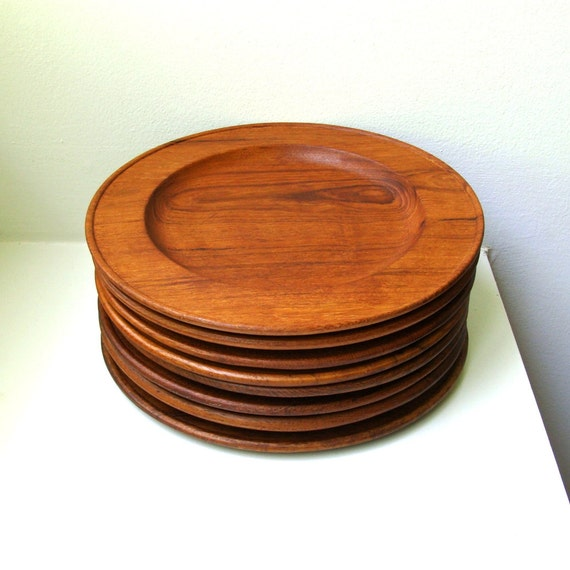 Mid Century Teak Dinner Plates Set of 8 Salads Appetizers Serving Dishes Handmade