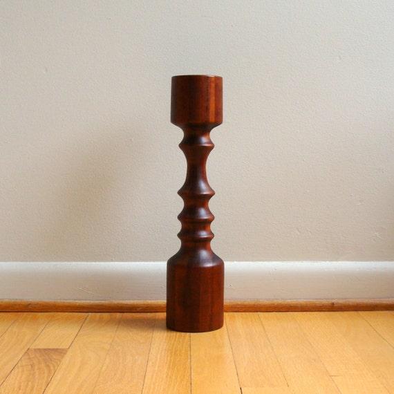 SALE Vintage Modern Tall Pillar Candle Holder Black Walnut Hand Turned Floor Standing