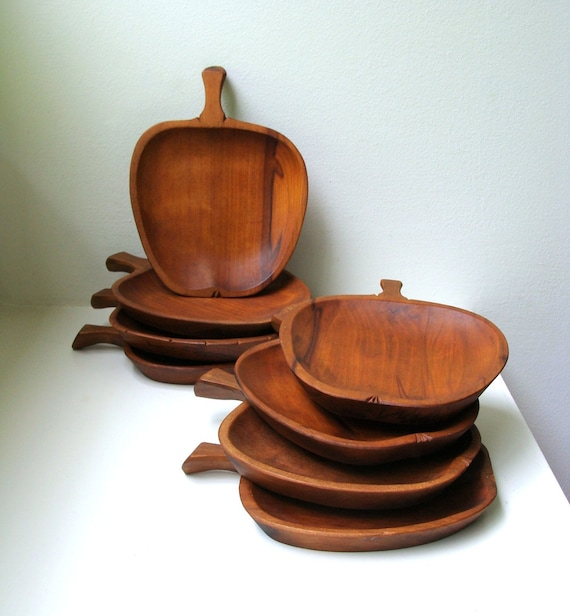Mid Century Teak Plates Set of 8 Salads Appetizers Fruit Serving Dishes Handmade