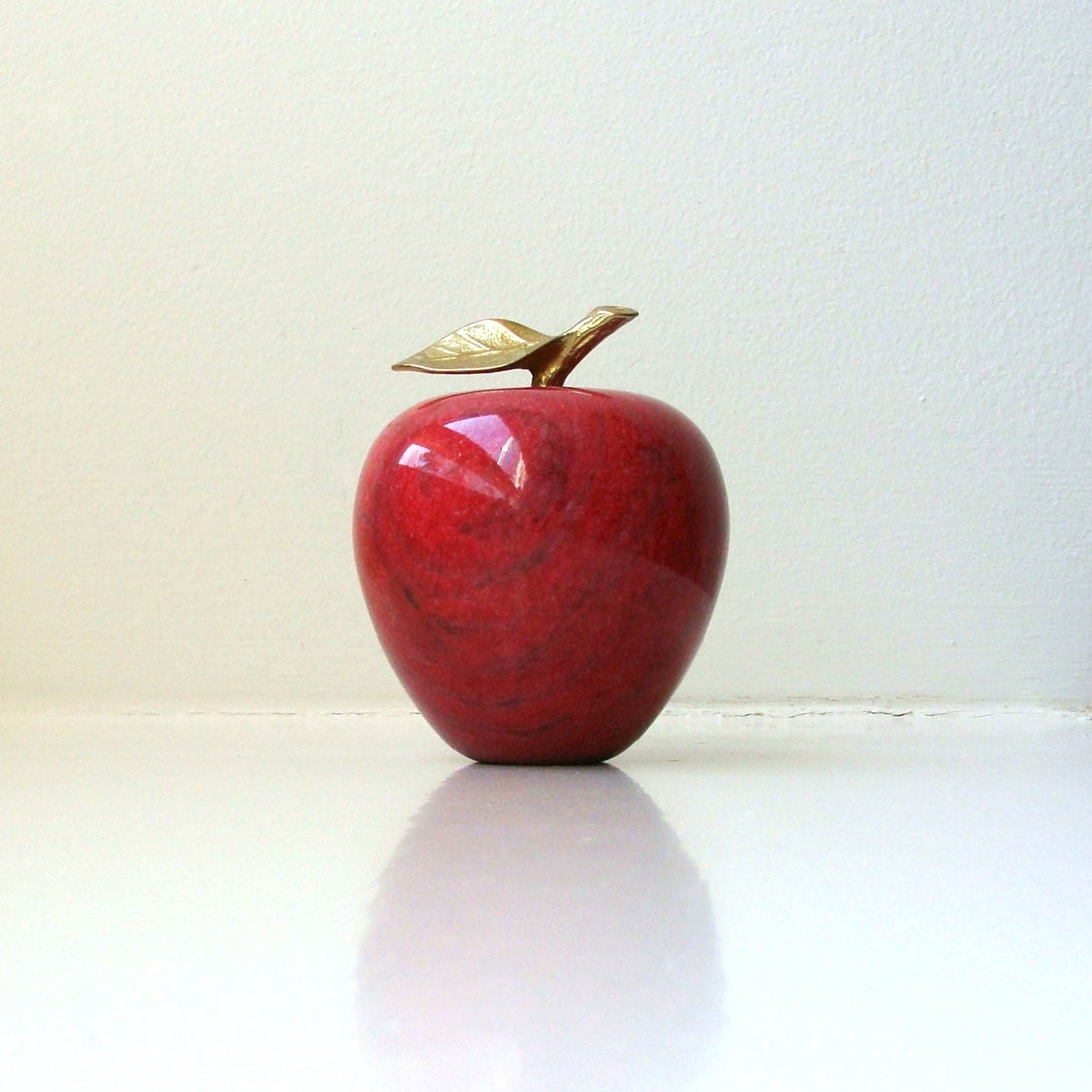 Vintage Red Marble Apple Objet Paperweight Figurine