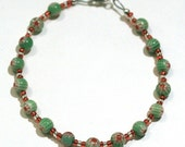 SALE Pretty Red and Green Millefiori Round Bead Bracelet