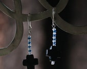 Semiprecious Stone Cross Earrings