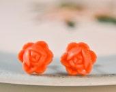 Vintage Rose Earrings- Coral Orange