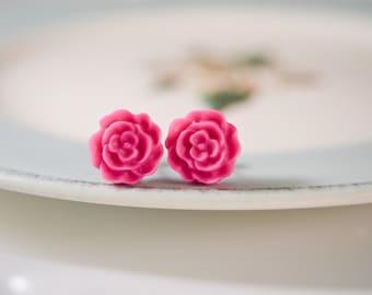Ruffle Rose Earrings- Fuschia