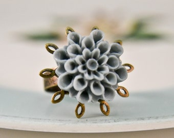 "Floral Ring - Denim Blue ""Delia"""