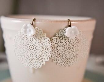 White Truffle Earrings