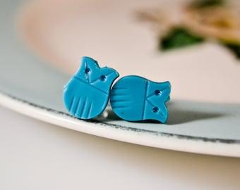 Owl Stud Earrings - Teal