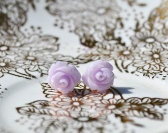 Petite Rose Earrings- Lavender