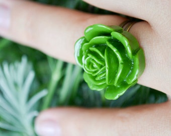 Majestic Rose Ring- Olive