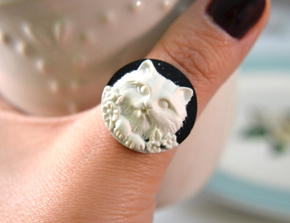 Cat Lady Cameo Ring- Black and White- Free Shipping