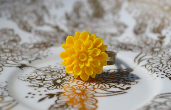 15 Percent off Sale -Chrysanthemum Ring- Sunshine Yellow