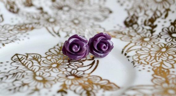 Shop Closing-Petite Rose Earrings- Purple