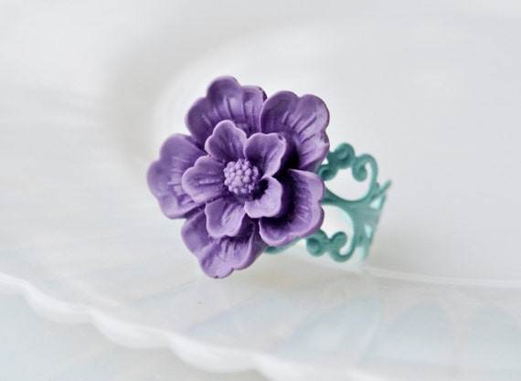 Romantic Sakura Ring- Purple and Mint - Last one