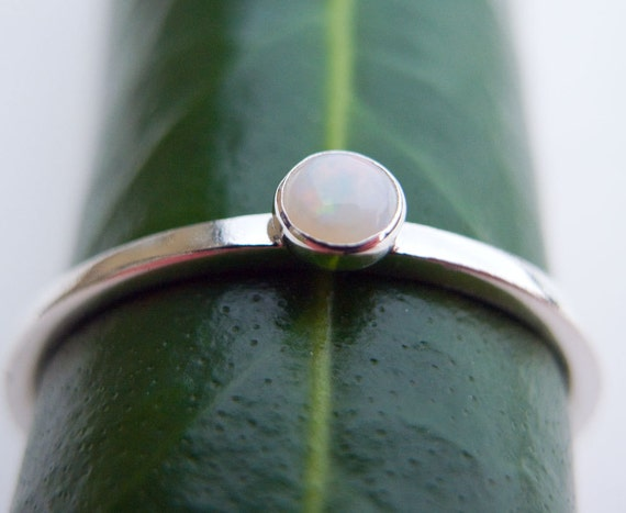 Opal Ring, Opal Stacking ring, Tiny Opal ring, White Opal ring, Stacking Ring