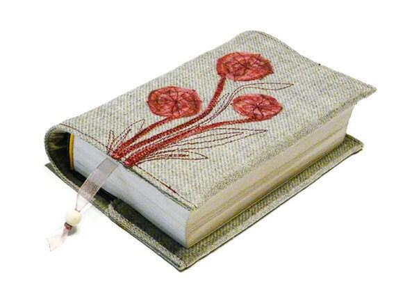Grey bible cover Fabric Book cover Fiber Art flowers application