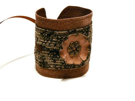 Leather women's cuff leather ruffled flowers, fabric roses , brown and bronze