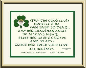 Irish Baby Blessing, personalized,  composed and designed by author/artist/calligrapher Jacqueline Shuler