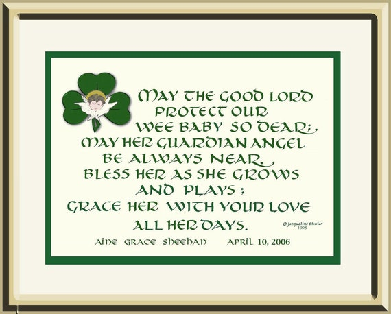 Personalized Baby Gifts Ireland : Personalized baby gift original irish blessing composed