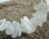 Centre Drilled, Genuine Seaglass, Beach Glass, Beads, Bright White, Medium Sized, Jewelry Supplies by SarahSeaGlass