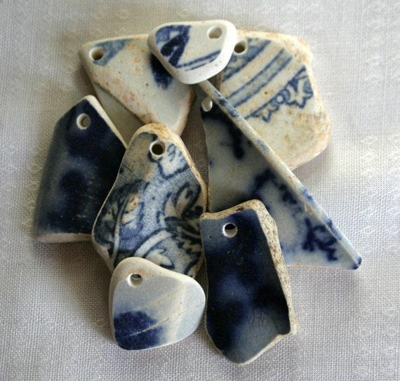 Seaglass Pottery, Ceramic, Blue and White, Top Drilled, Focal Beads, Beach Pottery, Jewelry Supplies by SarahSeaGlass