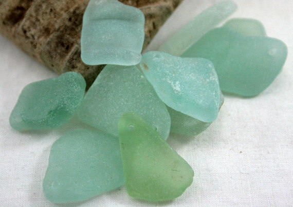 Sea Beach Glass, Seafoam, Aquamarine, Medium, Top Drilled, Focal Beads, Seaglass, Jewelry Supplies by SarahSeaGlass