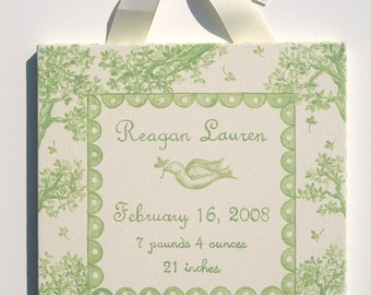 Hand painted toile birth announcement canvas wall art- sage green