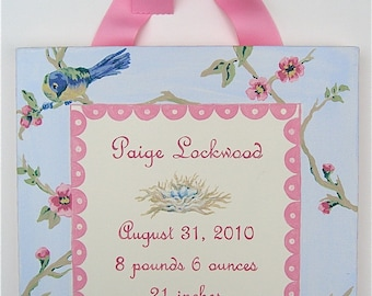 Hand painted vintage bird and flowers birth announcement canvas wall art