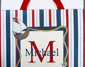 Hand painted nautical personalized canvas wall art
