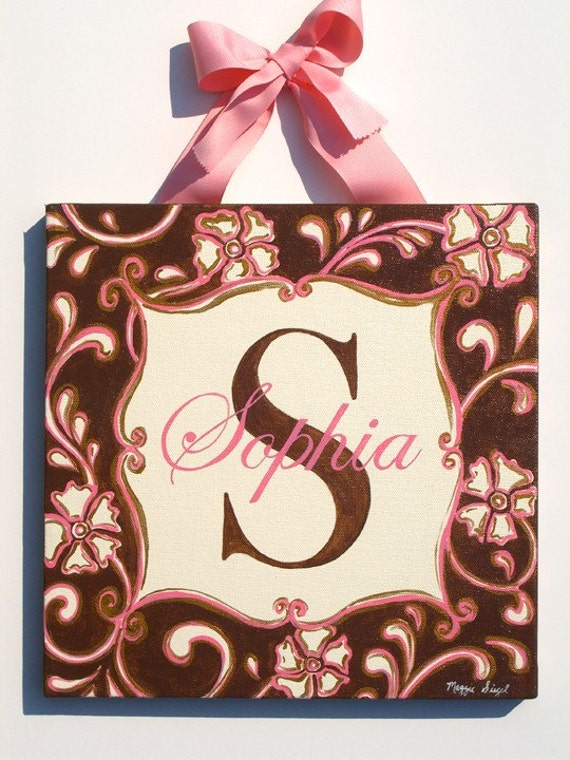 Hand painted flowers and swirls personalized canvas wall art- brown/pink/antique gold