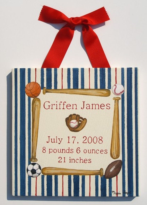 Hand painted vintage sport birth announcement canvas wall art