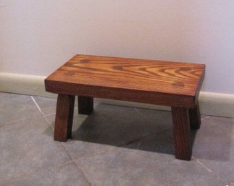 Wood footstool, solid ash step stool, handmade furniture for the home, wooden furniture