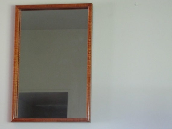 Tiger Maple wood Mirror Frame with mirror, stunning grain, ready to hang