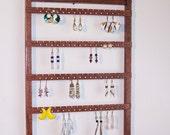 Oak Jewelry Organizer / Holds 128 pcs / Red Mahogany
