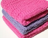 3 Three Cotton Washcloths - Purple and Pink Washcloths - Crochet, Crocheted Washcloths, Wash Cloths - Bathroom, Shower Use
