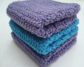 Set of Three Cotton Washcloths - Blue and Purple Washcloths - Crochet, Crocheted Washcloths, Wash Cloths - Hoooked Bathroom Accessory