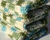 Set of Three Cotton Washcloths - Emerald Isles Washcloths in Blue, Green, Off White - Crochet, Crocheted Washcloths, Wash Cloths - Shower