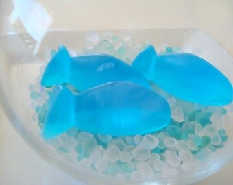 Three Little Blue Fish Soap, Unscented Soap, Soap Stocking Stuffer For Children, Kids, Homemade Soap