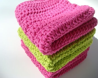 Three Cotton Washcloths - Lime Green, Pink Washcloths, Wash Cloths - Watermelon Color - Crochet, Crocheted Washcloths, Wash Cloths