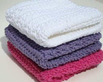 Three Cotton Washcloths, Bright, Hot Pink, Purple, White Washcloths, Crochet, Crocheted Washcloths, Wash Cloths