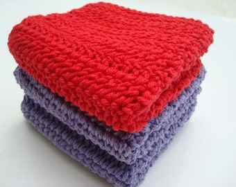 Three Cotton Washcloths - Red and Purple Washcloths - Crochet, Crocheted Washcloths, Wash Cloths