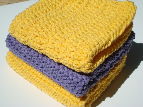Three Cotton Washcloths - Sunshine Yellow and Purple Washcloths - Crochet, Crocheted Washcloths, Wash Cloths - Face Scrubbies - Cotton