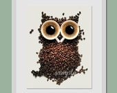 Kitchen Art Print 8x10 Coffee Time Owl