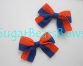 Orange & Blue Piggytail Bow Pair.  Perfect Tomboy Accessory.