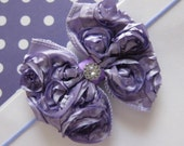 Lavendar Rosette Bow Headband with Tiny Bling.  Accessory for Baby, Infant or Toddler. READY TO SHIP.