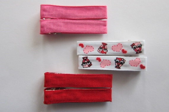 Valentine's Day Set of 6 Hair Clips.  3 Pairs of Clippies.  Perfect Valentine's Day Accessory.  READY 2 SHIP.