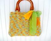 Handmade purse rainbow handbag tote bag Knitted summer fashion Eco friendly Womens shopper SALE Gift for mom