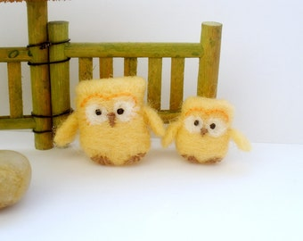 Wool  Felt owl children decor Eco friendly miniature toy Felted owls Birds  Home decor Peach beige decoration Collectibles Gift for mom kids