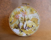 Dainty Flowers Embroidery Hoop Using Vintage Sheets