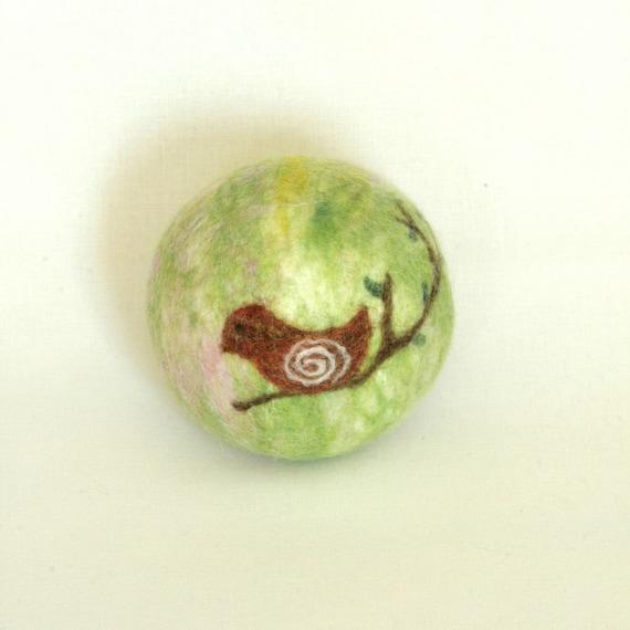 "Wool felted ball ""bird on a branch"""
