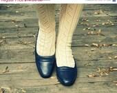 50% OFF SALE Navy Leather Loafer Pump Florsheim Deadstock Shoes 5.5 / 6